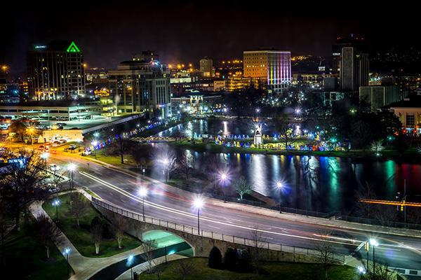 Huntsville, Alabama city skyline at night