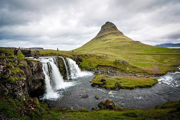 The iconic waterfalls and greenery of Kirkjufellsfoss, Iceland