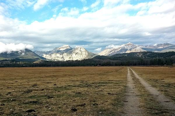 Dirt road leading into Sawtooth National Forest, Idaho