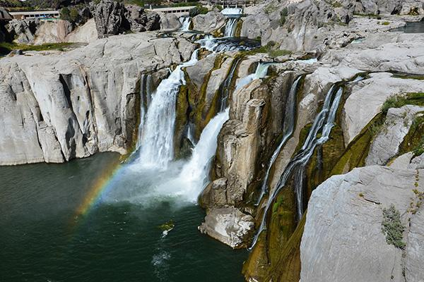 A rainbow catches light at Shoshone Falls, just outside of Twin Falls, Idaho