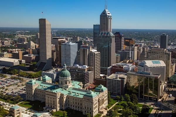 An aerial view of stunning downtown Indianapolis, Indiana