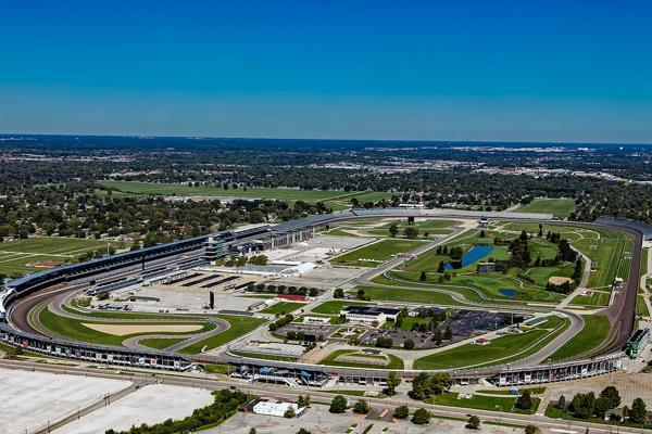 The sun shines on the racetrack where the Indianapolis 500 is held