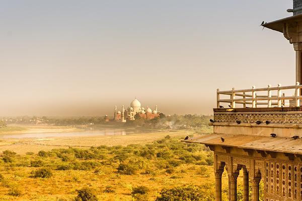 Distant view of Taj Mahal from Agra Fort in India