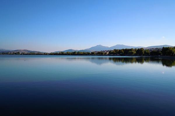 A calm and beautiful day on Lake Ioannina, Ioannina, Greece