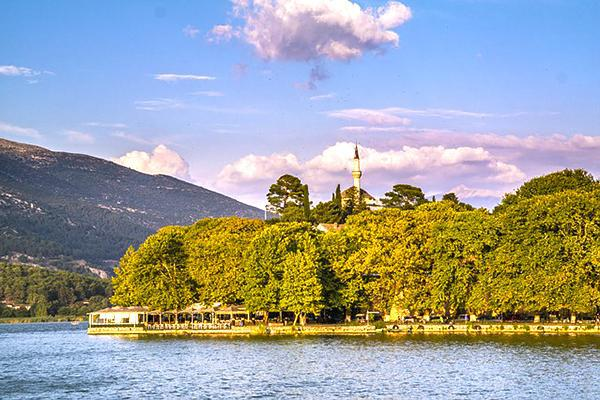 A mosque reaches up to the sky from the beautiful and picturesque Ioannina, Greece