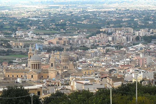 Birds-eye view of Comiso, Sicily, Italy