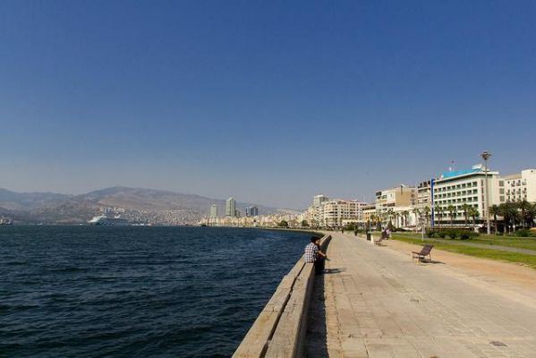 Izmir's waterfront stretches into the distance