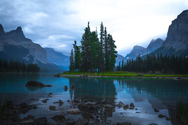 Maligne Lake is decorated by trees in the Rocky Mountains at Jasper National Park in Canada