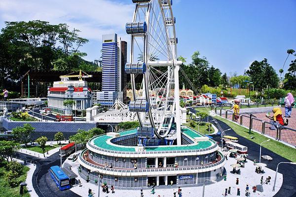 A Ferris wheel perched above Legoland in Johor Bahru, Malaysia