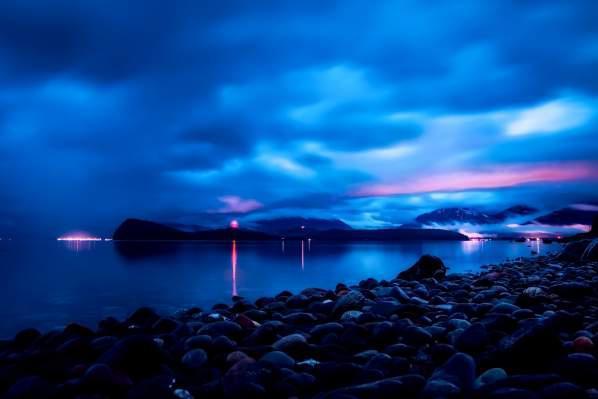 City lights of Juneau from far away.