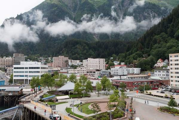 Downtown Juneau with Mount Juneau rising in the background