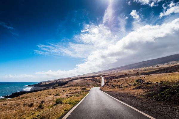 The open road unfolds on the Hawaiian island of Maui near Kahului Airport