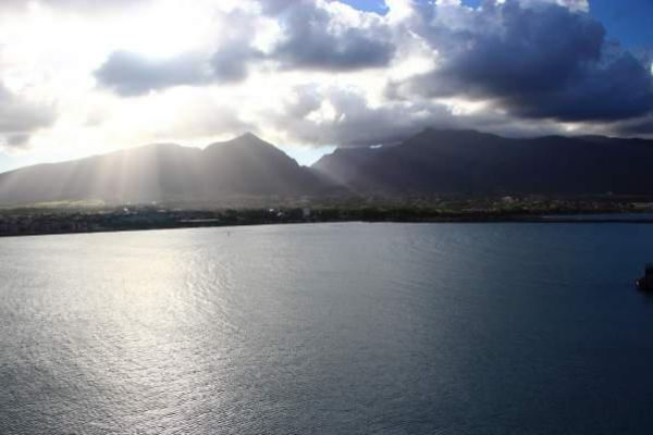 Beautiful sunshine over the harbor of Kahului.