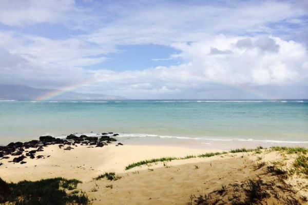 Rainbow at Kanaha Beach, Kahului, Maui.
