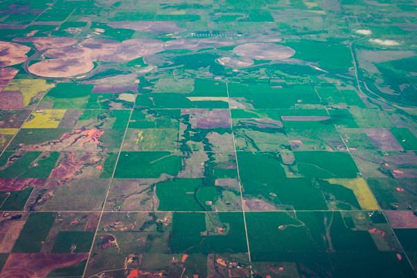 Aerial view of the Oklahoma plains