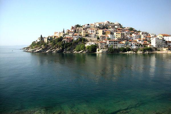 Hillside houses face the sea in Kavala, Greece