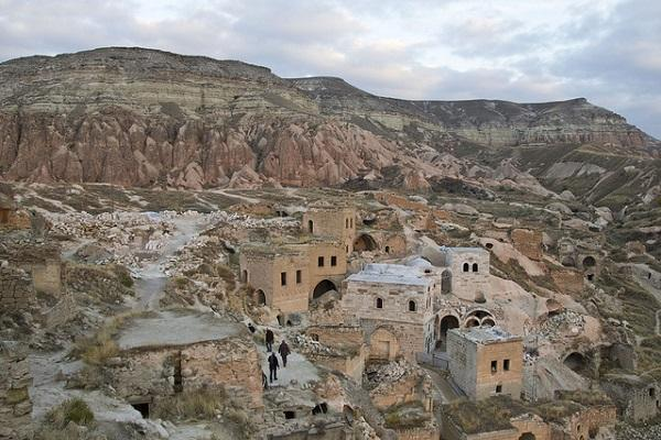 Ancient houses in the Cappadocian landscape