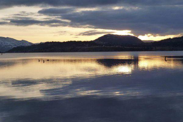 Enjoy a beautiful sunset over Lake Okanagan in Kelowna.