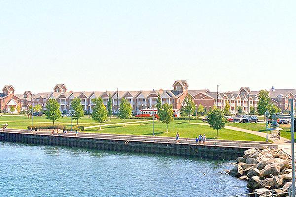 Summer waterside views of HarborPark in Kenosha, Wisconsin