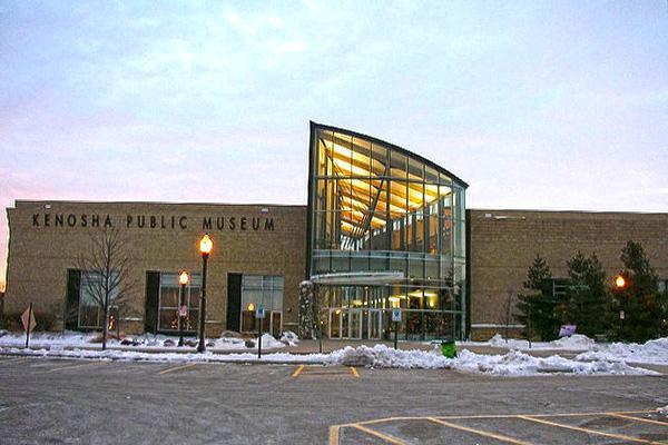 The Kenosha Public Museum looking pretty in wintertime dusk in Kenosha, Wisconsin