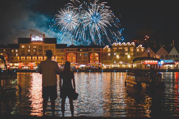 Fireworks explode over Disney's Boardwalk Resort near Kissimmee, Florida
