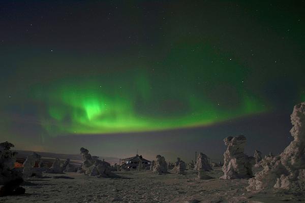 The Northern Lights illuminate the sky in Levi, Kittila, Finland
