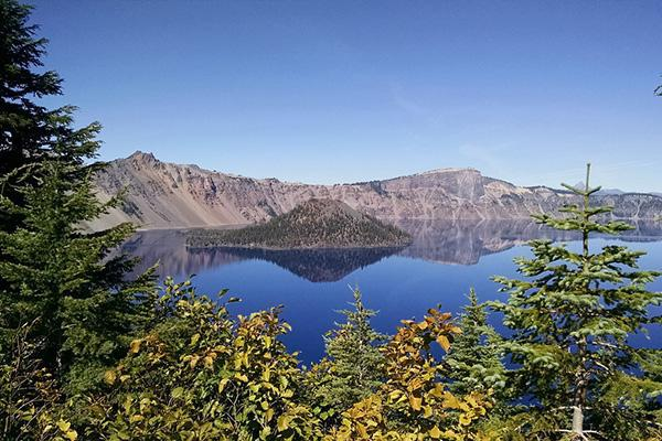 The stunningly beautiful Crater Lake, just outside of Klamath Falls, Oregon