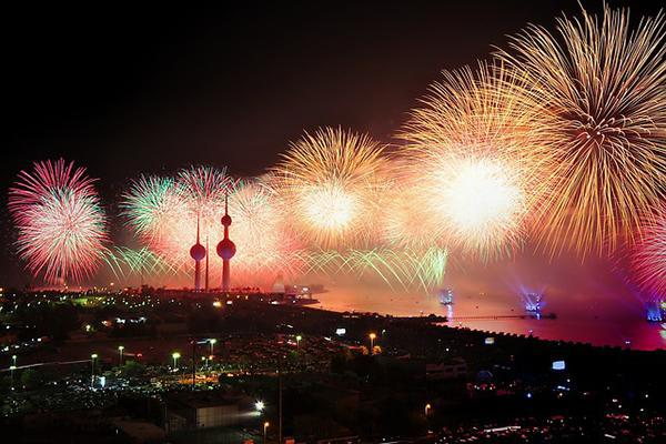 Fireworks light up the night over Kuwait's iconic skyline