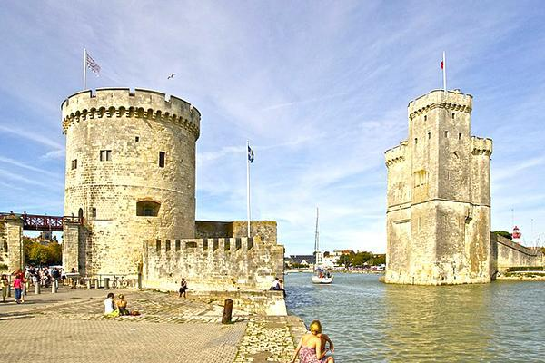 The medieval seaside structures of La Rochelle, France