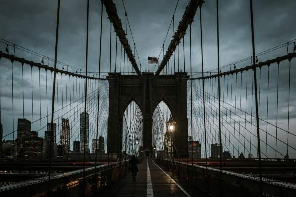 One of the top sights of New York City - the Brooklyn Bridge.