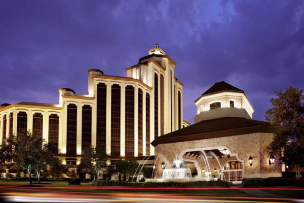 The front entrance of L'Auberge Casino Resort in Lake Charles, Louisiana.