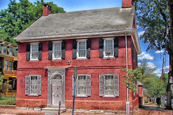 An historic colonial house still stands proudly in downtown Lancaster, Pennsylvania