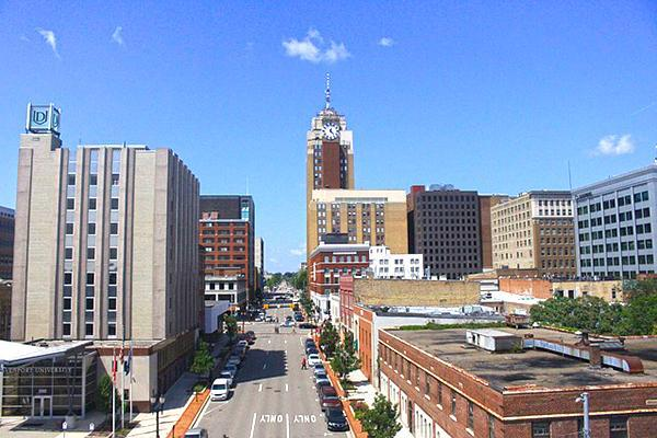 View of downtown Lansing, Michigan on a clear day