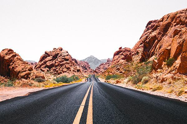 An empty road in the Valley of Fire State Park near Las Vegas, Nevada