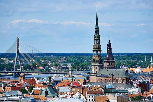 The Old Town skyline of Latvia's capital, Riga