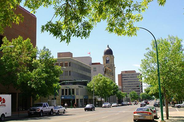 Downtown Lethbridge looking inviting on a sunny summer day in Alberta, Canada