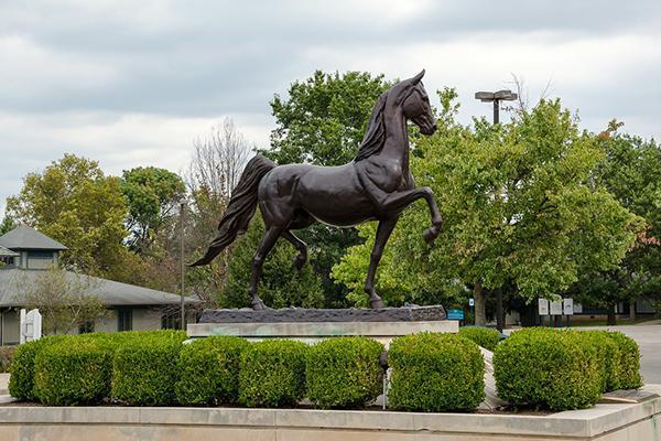A bronze horse monument stands in Kentucky Horse Park in Lexington, Kentucky