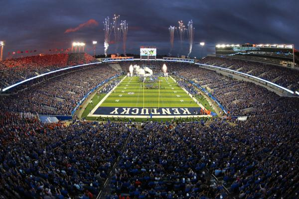 Fireworks explode in the night sky after a successful game for the Kentucky Wildcats in Lexington