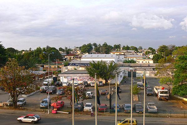 A busy street scene in Libreville, Gabon
