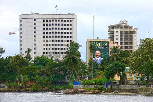 A residential beachfront area in Libreville, Gabon
