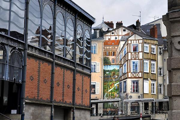 Colourful and aesthetically pleasing buildings in Limoges, France