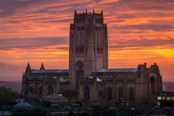 The imposing Liverpool Cathedral towers above the surrounding city.