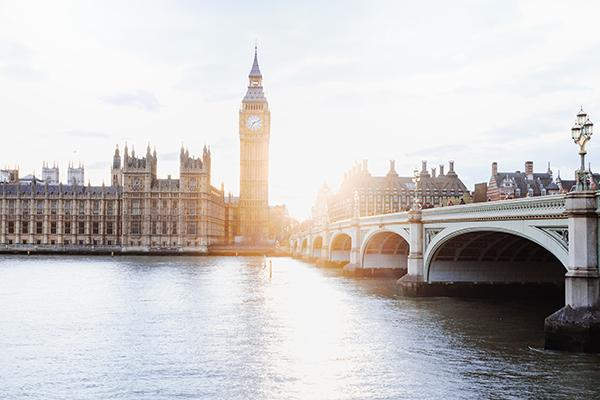 The Westminster Bridge and Big Ben in central London, United Kingdom