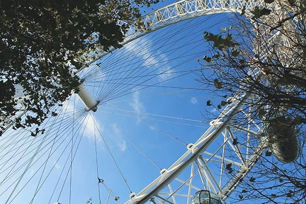 Looking up at the London Eye Ferris Wheel on a beautiful day in London, England