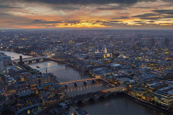 Aerial view of the city of London at sunset in the United Kingdom