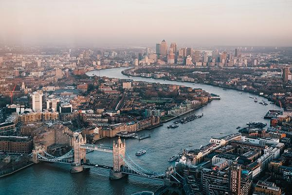 View of London and the River Thames from the Shard, England