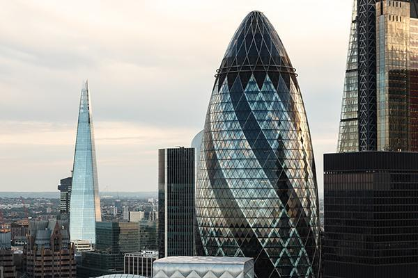 View of London, England's skyline and unique architecture