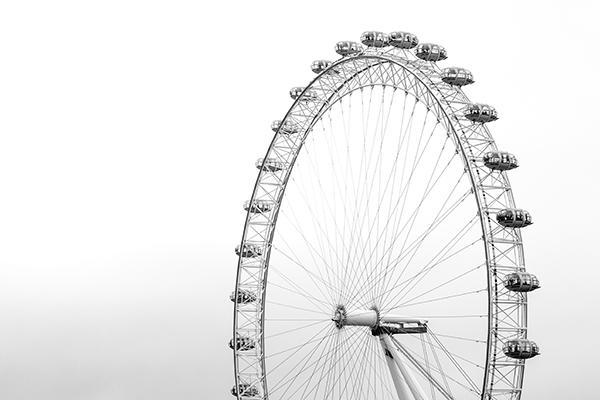 The iconic London Eye reaching high into the sky in London, England