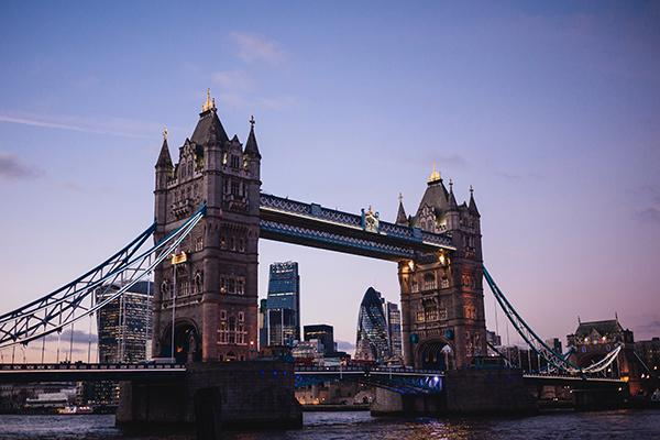 The Tower Bridge looking beautiful at dusk in London, England