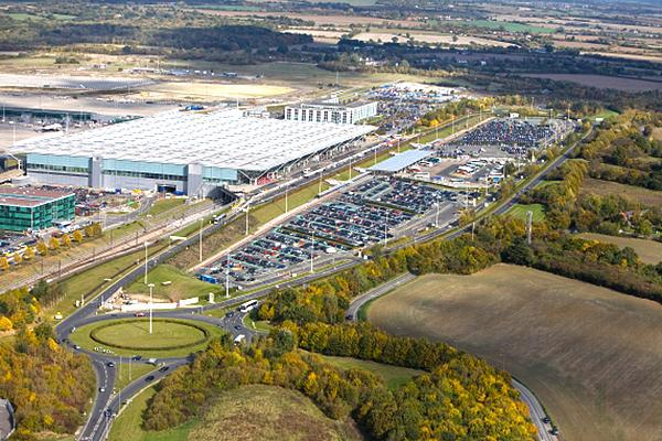 Aerial view of Stansted Airport in the United Kingdom